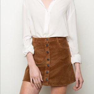 Brandy Melville Brown Corduroy Button Skirt !!